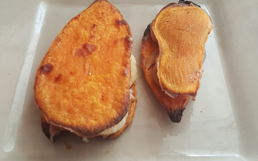 Almond Butter & Banana Sweet Potato Sandwiches